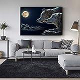 Geiqianjiumai Wolf im Mondlicht realistische Wandbilder im Wohnzimmer Wandbilder Wandbilder...