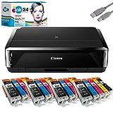 Canon PIXMA IP7250 Tintenstrahldrucker + USB Kabel & 20 kompatible Druckerpatronen der Marke ink24...