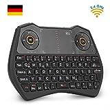 Rii K28C Mini Tastatur Wireless, Mini Tastatur Kabellos mit Touchpad, Mini Tastatur Beleuchtet für...