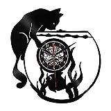 ZhaoCJB Wanduhr Katze Aquarium Wanduhr Vinyl Wanduhr Tier Wanduhr für Tiere Dekoration Wanduhr...