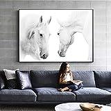 DYBTK Schwarz Und Weiß Farbe Pferde Wandkunst Leinwand Abstrakte Tiere Gemälde An Der Wand Moderne...
