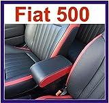 Filocar Design Armlehne für FIAT 500, mit integriertem Staufach, Leder, Schwarz und Rot, rote Naht