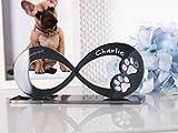 CHRISCK design Gedenkstandbild Gedenktafel Hund mit Gravur Infinity Form mit Tatzen Pfoten Grabstein...