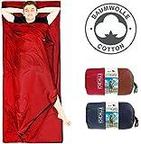 MIQIO 2in1 Baumwoll-Hüttenschlafsack mit durchgängigem Reißverschluss (Koppelbar): Leichter...