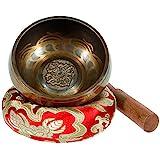 Rovtop Tibetische Klangschale Klein 9.5cm - 230g, Klangschalen Set Beinhaltet Deko Kissen und...