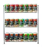 Ostmann Chrom-Gewürzregal gefüllt mit 21 Gewürzdosen Kräuter-Regal-Set Gewürz-Ständer, mit 21...