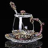 DMAR 3D Flower Tea Cup & Untertasse-Set, bleifrei, handgefertigte Glas-Tasse mit zartem Lffel, fr...