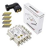 PremiumX Multischalter Set PXMS-ECO 5/8 stromlos Multiswitch Quattro LNB 24x F-Stecker Satverteiler...