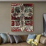 yaoxingfu Kein Rahmen Abstrakte Jesus Kreuz Leinwand ng Gothic Poster n Print für Wohnzimmer...