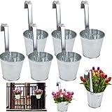 esto24 6er Set Hngetopf Pflanztopf bertopf mit Haken Silber Zink Blumentopf Vase Balkon Garten
