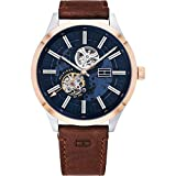 Tommy Hilfiger Herren Analoger Quarz Uhr mit Echtes Leder Armband 1791642