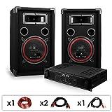 elektronik star DJ PA-Set DJ-12 1000 Watt mit PA-Verstärker SPL-400 und 500W PA-Boxen Auna XEN-3580...