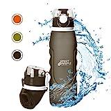 sport2people Silikon Faltbare Wasserflasche 1 L - Medizinische Qualitt Aufrollen Trinkflasche, BPA...