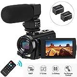 Camcorder Videokamera, Aabeloy Digitalkamera mit Mikrofon 1080P 30FPS 24MP 16X Digitalzoom 3,0 Zoll...