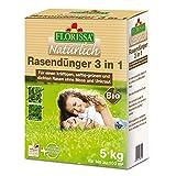 Florissa Natürlich 58659 BIO Rasendünger 3 in 1 (5 kg) mit Eisen für einen dichten Rasen ohne...