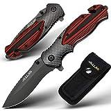 Jellas Klappmesser J-001 3-in-1 Outdoor Messer mit Titaniumklinge aus Edelstahl, Taschenmesser &...