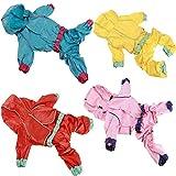 JujubeZAO Regenmantel für Hunde/Welpen, einfarbig, vierbeinig, wasserdicht, Knopfverschluss, helle...