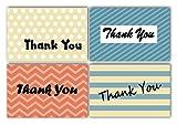 Dankeskarten und Umschläge, 4 einzigartige Designs, Punkte, Streifen, Chevron, blanko, ideal für...