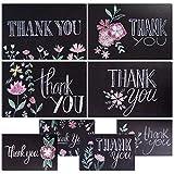 Dankeskarten mit Kreidetafel, Blumenmuster, 48 Stück