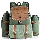 VonShef 4 Personen Abenteuerrucksack - Grüne Khaki Picknick Tasche - ESS-Set für 4 mit...