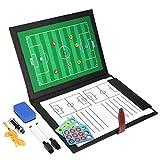 GHB Professional Fuball Coach-Board Taktikmappe Coach-Mappe mit 2x Stifte, Radiergummi, 24er...