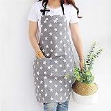 Lindong Sterne Schürze mit Tasche Baumwolle Leinen Damen Küchenschürze Latzschürze Kochschürze...
