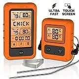 Olivivi Funk Bratenthermometer mit Groem LCD-Touchscreen Digitales Grillthermometer mit 2 Sonden...