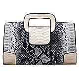 ZLM BAG US Damen Handtasche im Vintage-Stil, mit Klappe und Tragegriff, PU-Leder, (Y-gold),...
