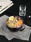 Edelstahl-Rührschüssel mit Deckel für Studenten, Wohnheim, Reisschüssel, einfach zu reinigen,...