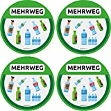 trashnice Mehrweg Aufkleber 4er Pack 95 mm Mülltonne Mülltrennung Set Abfalleimer...