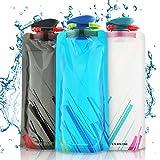 Nasharia Faltbare Wasserflaschen, Set von 3 Flexible zusammenklappbare Trinkflasche...