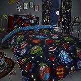 Happy Linen Company Kinder Bettwäsche-Set - Weltall-Motiv mit Monstern & Planeten - leuchtet im...
