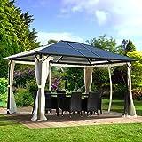 BRAST Alu Pavillon 3x4m festes Dach wasserdicht Moskitonetz 100% Aluminium Festzelt Partyzelt Garten...