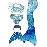 3STEAM Mädchen Meerjungfrauenschwanz Zum Schwimmen mit Meerjungfrau Flosse, Water Blue, 12...