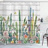 NR Duschvorhang,Amerikanischer Südwesten stachelige Pflanzenblumen Vintage Aquarell Kakteen Kaktus...
