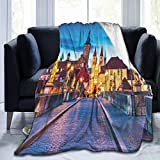 EELKKO Flannel Fleece Throw Blankets,Colorful Sunset Evening View of Old Main Bridge In Historical...