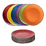 esto24 6er Set große Speiseteller Porzellan Geschirr in tollen Farben für Ihre liebsten Speisen...