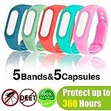 (5 Stck) Mckenschutz Armband, Anti Mosquito Bracelet Reusable Repellent Wristband Armband natrlichen...