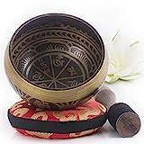 Silent Mind tibetische Klangschale Set ~ Antik Design ~ mit hochwertigem Holz Klppel und Himalaya...