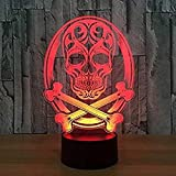 XLLJA LED Nachtlicht,New 3D Skull Night Light Touch Table Desk Lamps 7 Color Changing Illusion...
