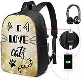 I Love Cats Wasserdichter Laptop-Rucksack mit USB-Ladeanschluss, Kopfhöreranschluss, passend für...