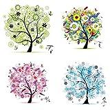 Labellevie Kreuzstich Stickerei DIY Handarbeit Stickpackung Set vom Baum des Lebens 45 * 45cm: Vier...