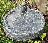 Vogeltrnke mit Vogel Schiefergrau, Frostsicher, Vogelbad, Stein, Garten