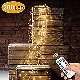 Sporgo Led Lichterbündel,2M 200 LED Wasserdichte Dekorative Wasserfall-String-Leuchten,8 Lichtmodi...