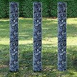 [pro.tec] Säulen - Gabionen 3er-Set (Grundriss viereckig - 25cm) (3X 200 cm hoch)...