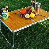 LIZIJIUX Campingtisch, Miniklapptisch im Freien kampierende Bambus Allegro Tabelle beweglicher Hand...