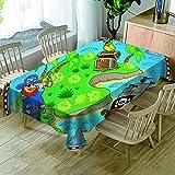 HACLJPP Rechteckig Tischdecke Abwaschbar, 3D Abwaschbar Tischdecken, Pirat Und Schatz, Wachstuch...
