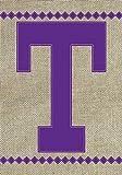 jiaxingdalin Hausgarten-Monogramm T Dekorative lila Diamant-Leinwand-Flagge