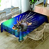 HACLJPP Rechteckig Tischdecke Abwaschbar, 3D Abwaschbar Tischdecken, Meereslebewesen, Wachstuch...