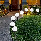 FLOWood Solar Gartenleuchte wasserdicht Solarlampe fr Garten Auen LED Kugel mit Erdspie Kunststoff...